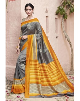 Festival Wear Grey Thappa Silk Saree - VIPUL-30242