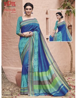 Ethnic Wear Blue Thappa Silk Saree - VIPUL-30243