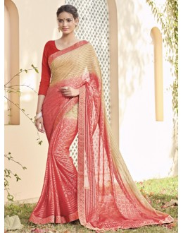 Casual Wear Beige & Peach Saree  - VIPUL-30419