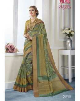 Ethnic Wear Multi-Colour Khadi Cotton Saree  - VIPUL-30807