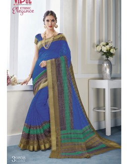 Festival Wear Blue Khadi Cotton Saree  - VIPUL-30808