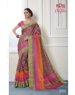 Party Wear Multi-Colour Khadi Cotton Saree  - VIPUL-30809