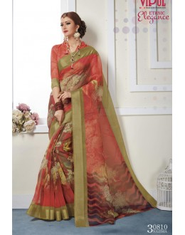 Multi-Colour Khadi Cotton Printed Saree  - VIPUL-30810