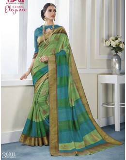 Khadi Cotton Green & Blue Saree  - VIPUL-30811