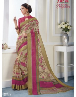Ethnic Wear Cream Khadi Cotton Saree  - VIPUL-30812