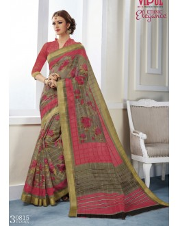 Ethnic Wear Multi-Colour Khadi Cotton Saree  - VIPUL-30815