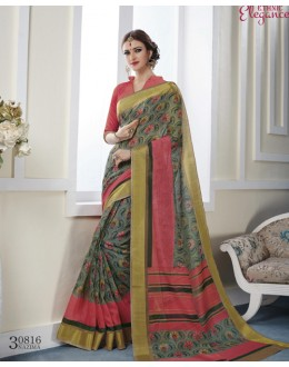 Festival Wear Multi-Colour Khadi Cotton Saree  - VIPUL-30816