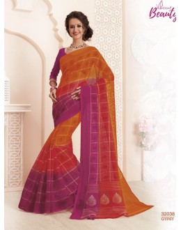 Ethnic Wear Orange Super Net Saree  - VIPUL-32038