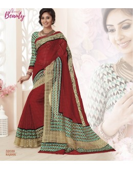 Party Wear Maroon Super Net Saree  - VIPUL-32039