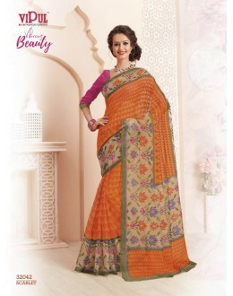 Ethnic Wear Orange Super Net Saree  - VIPUL-32042