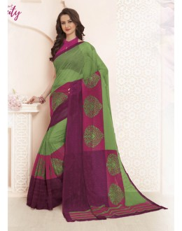 Super Net Green & Purple Saree  - VIPUL-32046