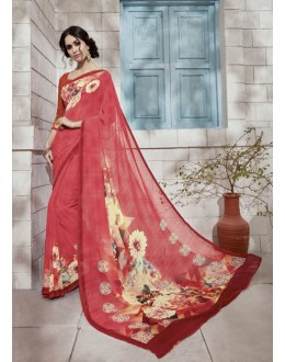 Ethnic Wear Peach Georgette Saree  - VIPUL-32932