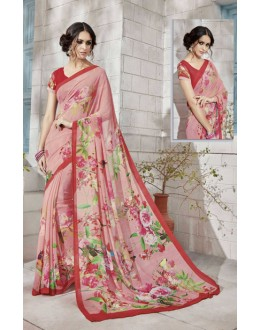 Festival Wear Pink Georgette Saree  - VIPUL-32936