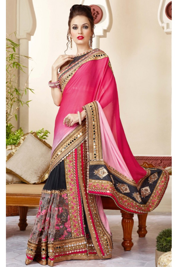 Party Wear Multicolour Crepe Chiffon Saree  - 3416