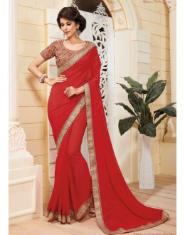Ethnic Wear Red Georgette Saree - VIPUL-3710