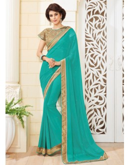 Party Wear Rama Georgette Saree - VIPUL-3717