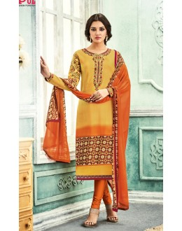 Office Wear Yellow & Orange Crepe Salwar Suit - 7102