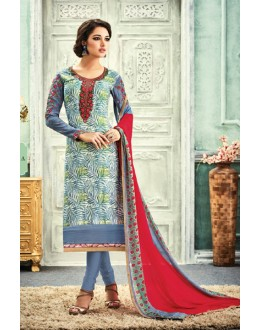 Office Wear Multi-Colour Crepe Salwar Suit - 7105