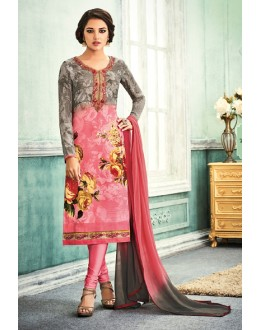 Ethnic Wear Grey & Pink Crepe Salwar Suit - 7107
