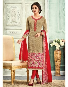 Festival Wear Brown & Red Crepe Salwar Suit - 7108
