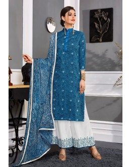 Festival Wear Blue Cotton Satin Palazzo Suit  - VIPUL-9303