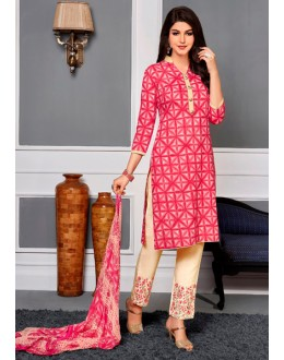 Casual Wear Pink Cotton Satin Salwar Suit  - VIPUL-9305