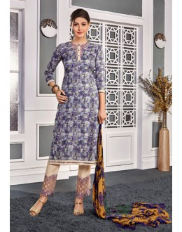 Casual Wear Purple Cotton Satin Salwar Suit  - VIPUL-9307