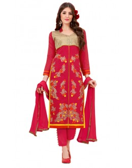 Ethnic Wear Red Cotton Salwar Suit - 3005