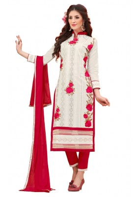 Ethnic Wear White & Red Cotton Salwar Suit - 3007