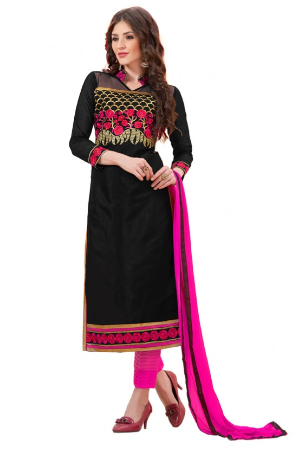 Office Wear Black & Pink Cotton Salwar Suit - 3009