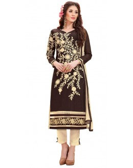 Office Wear Brown & Beige Cotton Salwar Suit - 3010