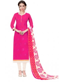 Casual Wear Pink Chanderi Salwar Suit - ASHIQUI GOLD 71029
