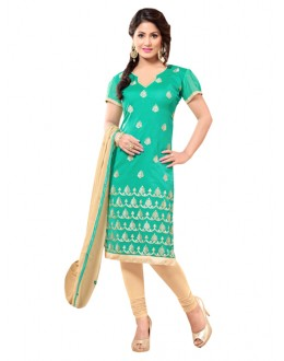 Party Wear Green Un-Stitched Churidar Suit - 7AKS13007