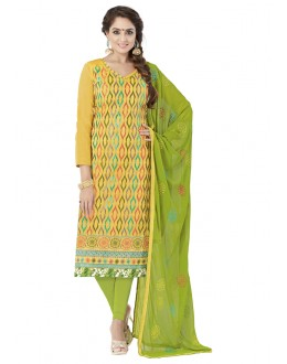 Ethnic Wear Yellow Chanderi Cotton Salwar Suit - ALEXA5003
