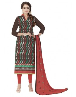 Casual Wear Coffee Chanderi Cotton Salwar Suit - ALEXA5004