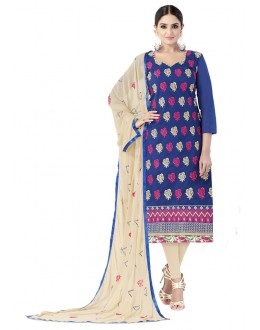 Chanderi Cotton Blue Embroidery Salwar Suit - ALEXA5006