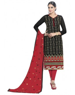 Ethnic Wear Black Chanderi Cotton Salwar Suit - ALEXA5008