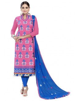 Festival Wear Pink Chanderi Cotton Salwar Suit - ALEXA5012