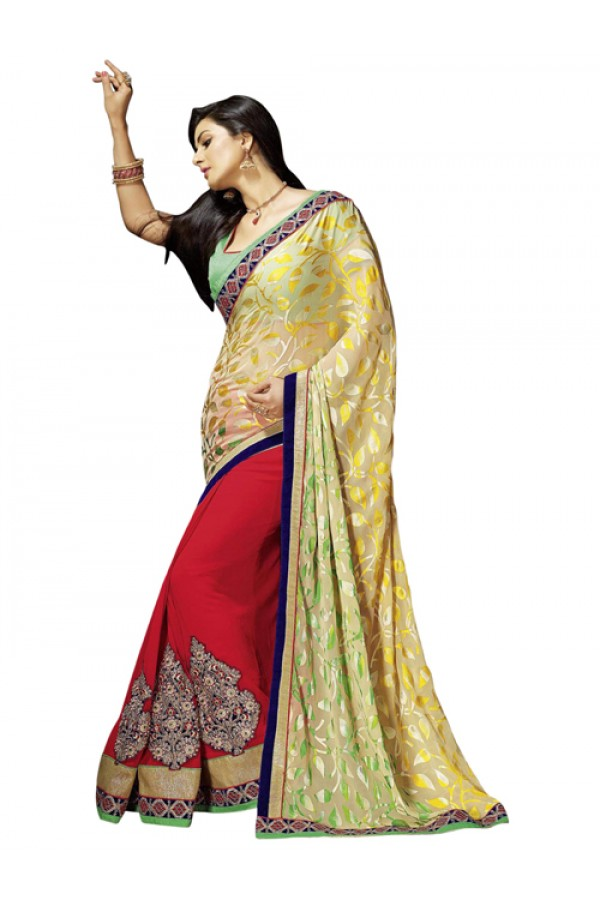 Party Wear Multicolor Brasso Saree - 1303