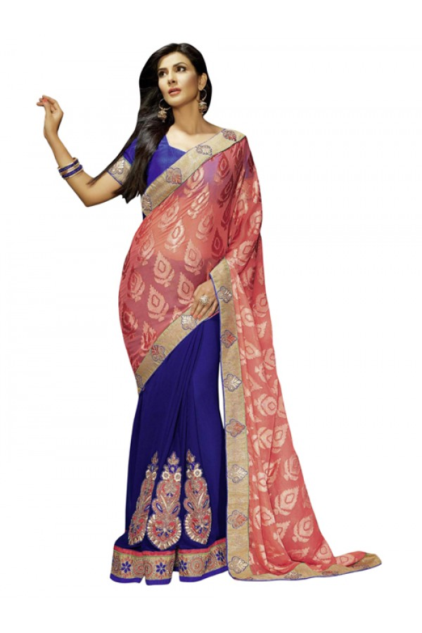 Party Wear Light Pink Brasso Saree - 1307