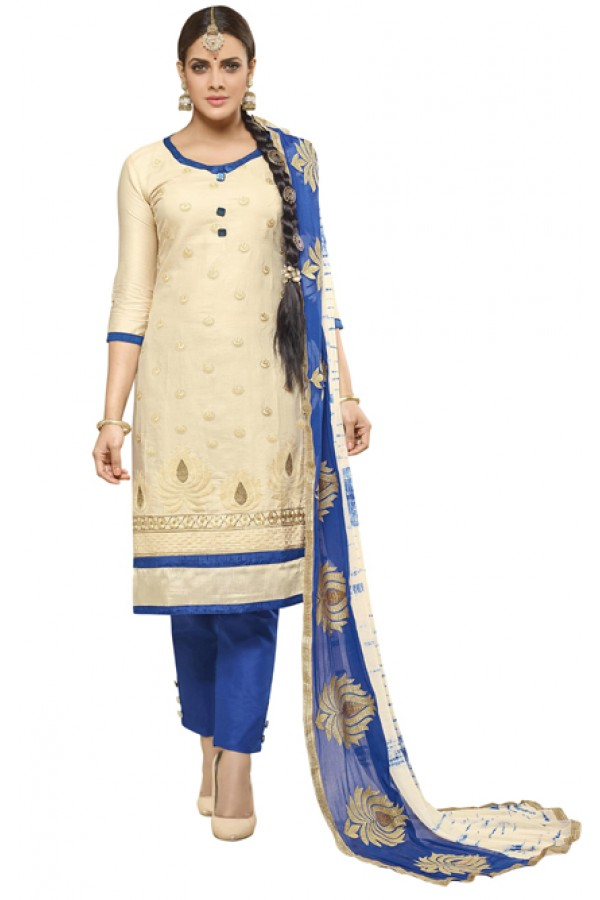 Casual Wear Beige Cotton Salwar Suit - AMYRA 2810