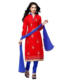 Party Wear Red Chanderi Cotton Churidar Suit - ARY3010