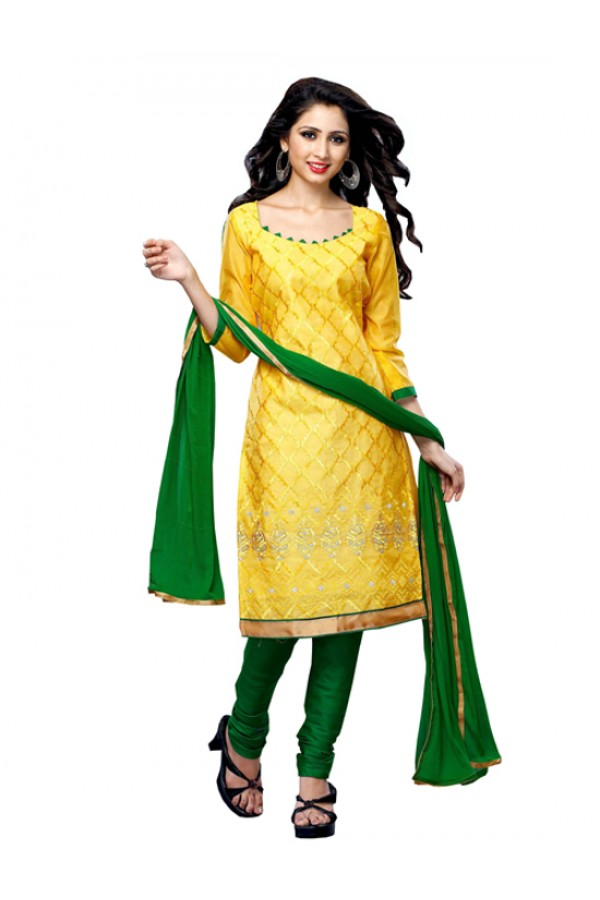 Party Wear Yellow Chanderi Cotton Churidar Suit - ARY3011