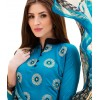 Office Wear Sky Blue & Black  Churidar Suit - 1001
