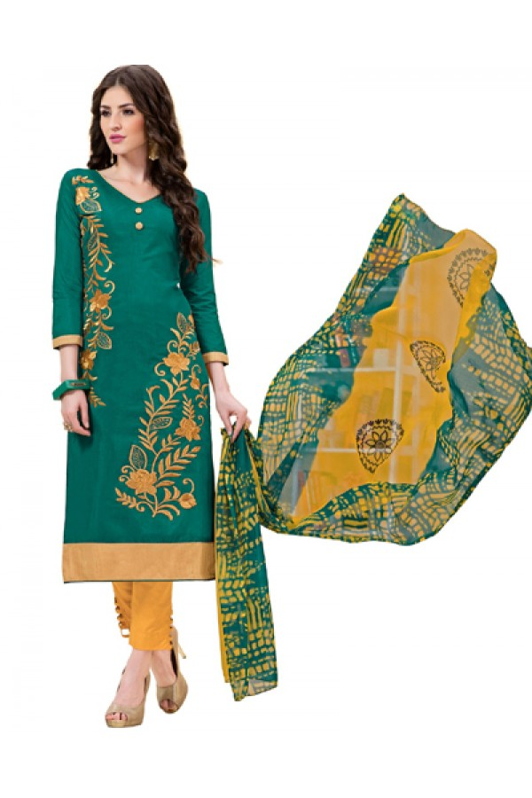 Office Wear Green & Yellow Salar Suit - 1005