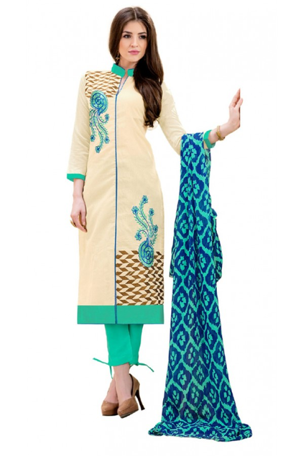 Ethnic Wear Cream & Turquoise Salwar Suit - 1009