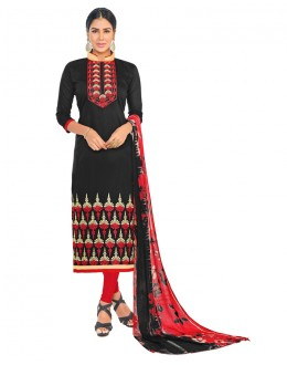 Ethnic Wear Black Chanderi Salwar Suit - ASHIQUI GOLD 81001