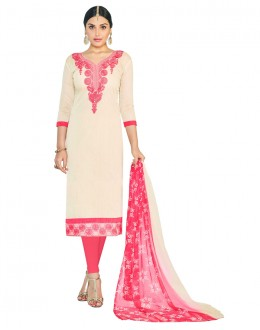 Festival Wear Cream Chanderi Salwar Suit - ASHIQUI GOLD 81003