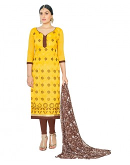 Ethnic Wear Yellow Chanderi Salwar Suit - ASHIQUI GOLD 81004