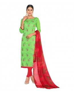 Ethnic Wear Green Chanderi Salwar Suit - ASHIQUI GOLD 81009